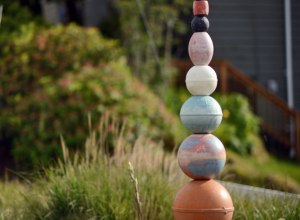 Float'em Totem, marine debris assemblage, part of the Tofino Float'em Garden by Pete Clarkson